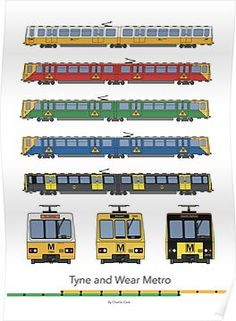 'Tyne and Wear Metro Liveries' Photographic Print by Charlie Care Bus Games, Train Drawing, Car 3d Model, Blank Walls, Train Station, Colour Schemes, Newcastle, Travel Posters, Cool Toys