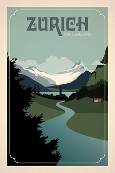 Zurich, Switzerland Poster inspired by vintage travel prints from 19th century golden age of poster design