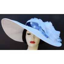 """White 5"""", 6"""" or 8"""" Brim-White Rose/Navy & White...a classsic Derby Hat by HAT-A-TUDE"""