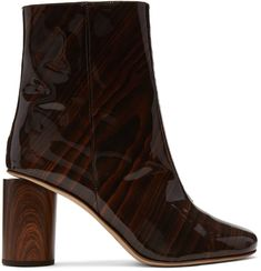 Acne Studios for Women Collection Block Heel Boots, Block Heels, Patent Leather Boots, Acne Studios, Fashion Boots, Heeled Boots, Calves, Shoe Bag, Brown