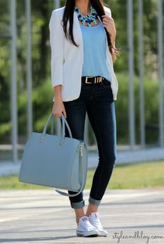 H&m Creamy Blue Large Leather Tote