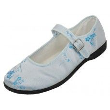 Satin Brocade Mary Jane Shoes in Light Blue, Pink, Black or Red