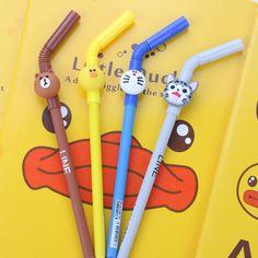 0.38mm creative Straw pen cartoon animal gel pen Pens, Pencils & Writing Supplies Z8045