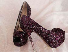 Purple wedding shoes Bling bridal shoes custom high por sunyshoping