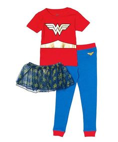 Wonder Woman Girls 3 Piece Short Sleeve Tutu Pajama Set