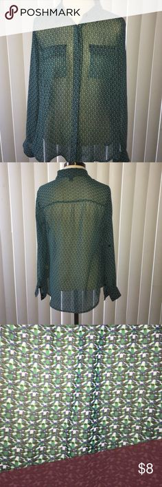 Sheer Green Top Sheer Green Top what would look great for business or leisure. It's sheer so a nice Cami would be nice to wear under it. It also looks amazing with leggings! Tops Button Down Shirts