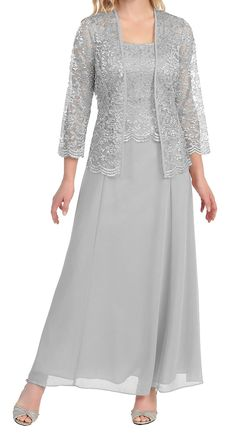Lace Chiffon Mother of the Bride Dress Gown With Jacket Sleeve Floor Length Mother Of The Bride Jackets, Mother Of The Bride Plus Size, Mother Of The Bride Dresses Long, Mother Of Bride Outfits, Mothers Dresses, Long Formal Gowns, Formal Dresses, Formal Prom, Linen Dresses
