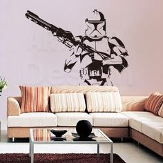 Large Star Wars S... ONLY ON SALE HERE: http://www.rousetheroom.com/products/large-star-wars-stormtrooper-with-blaster-gun-wall-decal?utm_campaign=social_autopilot&utm_source=pin&utm_medium=pin