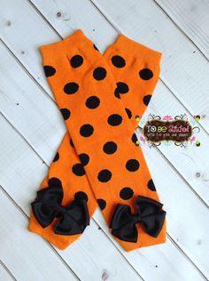 Halloween Orange with Black Polka Dot Leg Warmers