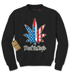 Crewneck Weed the People Long Sleeve America Pot Leaf Sweatshirt #1180 from $15.99 at xpressiontees.etsy.com | #ExpressionTees