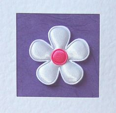 Get Well Soon Card - white satin flower with coloured satin centre - mum, daughter, sister, aunt, nan, grandmother, female friend