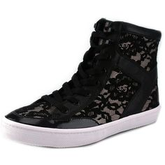 Rebecca Minkoff Smith High Top Sneakers Women Sneakers ($165) ❤ liked on Polyvore featuring shoes, sneakers, black, black trainers, black hi tops, lace sneakers, black high-top sneakers and lace high tops