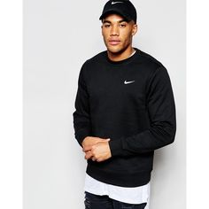 Nike Sweatshirt With Embroidered Swoosh 611467-010 (€45) ❤ liked on Polyvore featuring men's fashion, men's clothing, men's hoodies, men's sweatshirts, black, nike mens apparel and nike mens clothing