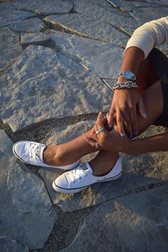 Dainty, white converse sneakers