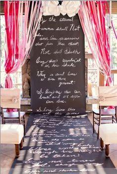 Chalkboard scroll aisle runner for wedding ceremony. Quality Event Design - Florists - Sparks - Wedding.com