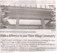 Volunteer Opportunity!  Thank you to the Village Times Herald for including this in last week's newspaper.