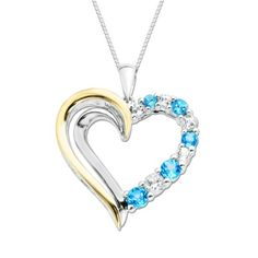 """XPY Sterling Silver and 14k Yellow Gold Blue and White Topaz Heart Pendant Necklace, 18"""" -"""