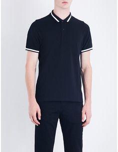 c87c64b2386ef Sandro Contrast-trim cotton-piqué polo shirt Pique Polo Shirt
