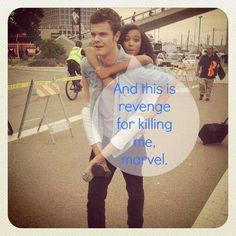"""Rue and Marvel! Haha """"this is revenge for killing me, Marvel."""" Aww this picture…"""