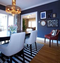 Home Design, Remarkable Home Design On The Topic Of House And Decor In Eclectic Dining Room In Navy Blue: Gorgeous Navy Blue Dining Room De...