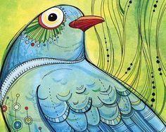 Original Illustration Print: Blue Bird, Green World