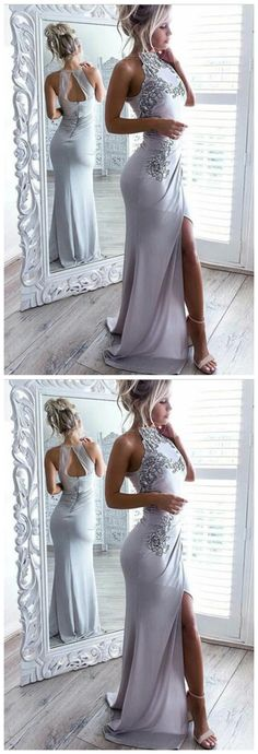 Mermaid High Neck Open Back Elastic Satin Long Grey Prom Dress with Appliques Grey Prom Dress, Mermaid Prom Dresses, Prom Party Dresses, Party Gowns, Sexy Dresses, Evening Dresses, Formal Dresses, Wedding Dresses, Elastic Satin