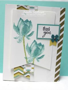 This is the third card we made at stamp club this month with the Lotus Blossom stamps set. It uses one of my very favorite colors - Coastal Cabana - with Bermuda Bay. Is it really going to be a ret...
