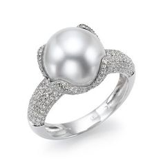 White Pearl Engagement Ring with Diamonds -- ME LIKEYYYY <3