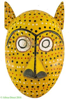 Bozo Mask Yellow Spotted With Ears Mali African ART | eBay