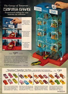Computer Garage and Matchbox Superfast Cars from the Sears Christmas Wish Book Catalog, 1970's