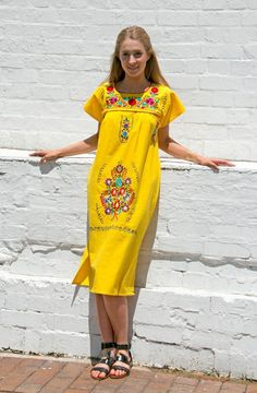 Adult Mexican long dress hand embroidered  by LittlepieceofMexico