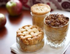 Apple Pie in a Jar    In this fresh take on the tried-and-true favorite, fruit filling is poured into dough-lined jars, then topped in darling, delicious ways. Freeze unbaked jars (with the lids screwed on) to satisfy comfort food cravings any time, any day