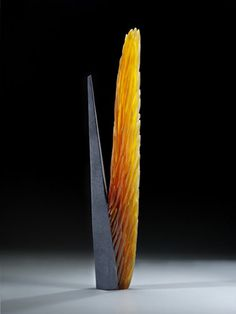 "Alex Gabriel Bernstein Steel Divide Cast and cut glass, fused steel 35""h x 7""w x 3""d"