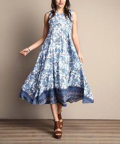 47ebb340e8 Ladies Size UK 18 Midi Dress Sleeveless Blue   White Floral Chiffon Style   879