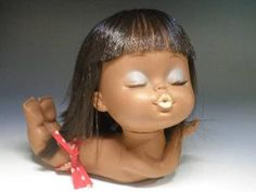 Vintage Rubber Shiba Kissing Doll Sun Bathing Hula Hawaiian Tan Skin Doll Made in Japan