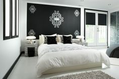 Don't fuss it, babes. A black accent wall, some decals, a snowy while tiled floor and a raggy shug. Just a few steps towards teen style heaven. Colin and Justin, Style Warriors xx Black Accent Walls, Home Bedroom, Bedrooms, Bedroom Ideas, Master Bedroom, Cool Rooms, My Room, Interior Inspiration, Bedroom Inspiration