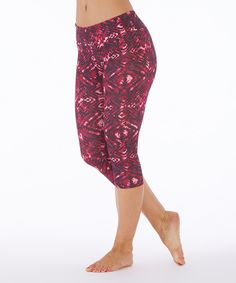 Look at this #zulilyfind! Balance Collection Fuchsia Paint Geometric Capri Leggings by Balance Collection #zulilyfinds