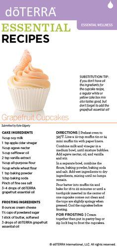 Delicious cupcakes made with dōTERRA Grapefruit essential oil!