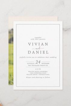 Minimalist Silver Photo on the Back Wedding Invite with classic silver gray and white typography paired with a vintage hand lettered calligraphy with rustic yet elegant style. Click to customize with your personalized details today. Invitation Paper, Stationery Paper, Custom Invitations, Invitation Design, Invite, Beautiful Wedding Invitations, Wedding Invitation Sets, Rustic Save The Dates, Simple Weddings