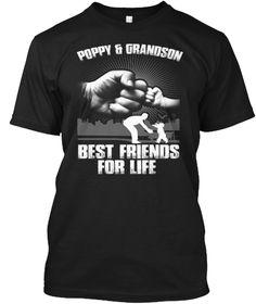 Poppy & Grandson Best Friends For Life Black T-Shirt Front