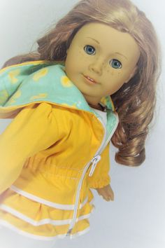 Puddle Jumping Rain Jacket for 18 inch dolls like American Girl, Our Generation and others