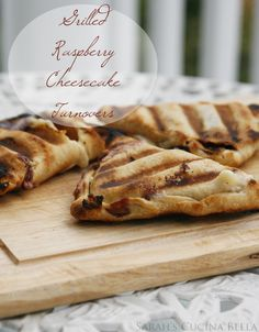 Grilled Raspberry Cheesecake Turnovers- These would be great for a summer BBQ! A flaky crust is wrapped around a creamy raspberry cheesecake filling and grilled to perfection.Note: This recipe was created for Pillsbury. Grilled Desserts, Just Desserts, Delicious Desserts, Dessert Recipes, Yummy Food, Bbq Desserts, Summer Desserts, Sweet Desserts, Dessert Ideas