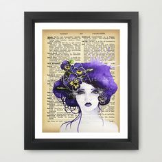 Art Print 27 x 19 cm, Purple Pansy Faery, Home Wall Decor, Dictionary Art Print, Purple Flowers, Pansy Flower, Flower Fairy, Floral Wall art by HelenFaerieArt on Etsy