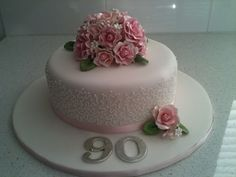 Fancy Cakes, Cute Cakes, 90th Birthday Cakes, Sparkle Cake, Birthday Cake With Flowers, Sugar Flowers, Christmas Crafts, Goodies, Flower Cakes
