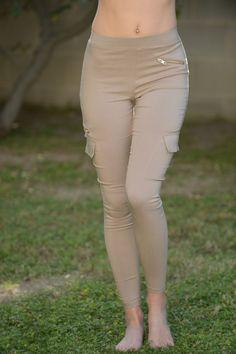 Hot Pocket Leggings - Taupe