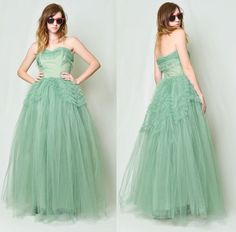 Vintage 50s Mint Tulle Sweetheart Princess Party Gown Prom Wedding Dress S | eBay
