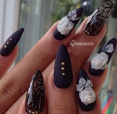 Black Matte Transparent Floral Nails