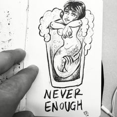 Mermaid Ina Beer. Another tattoo I want to get now. I based this off of some old flash that I found. ✨