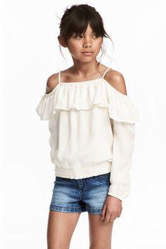 Bluzka z falbaną - Biały - Dziecko   H&M PL 1
