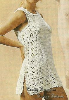 $3.95 - Instant download!  1960's Vintage Sirdar Swimsuit Coverup Crochet Pattern